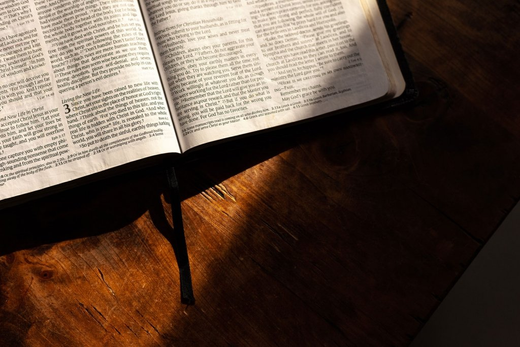 Bible open on table